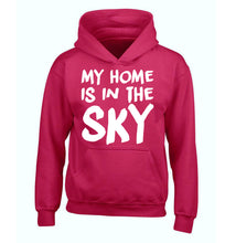 My home is in the sky children's pink hoodie 12-14 Years
