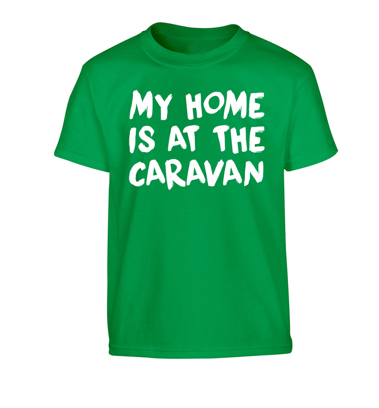 My home is at the caravan Children's green Tshirt 12-14 Years