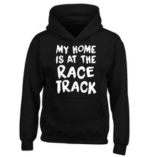 My home is at the race track children's black hoodie 12-14 Years
