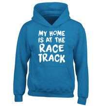 My home is at the race track children's blue hoodie 12-14 Years