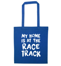 My home is at the race track blue tote bag
