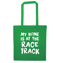 My home is at the race track green tote bag
