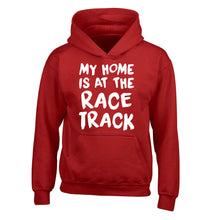 My home is at the race track children's red hoodie 12-14 Years