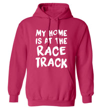 My home is at the race track adults unisex pink hoodie 2XL