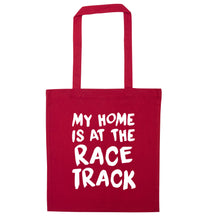 My home is at the race track red tote bag