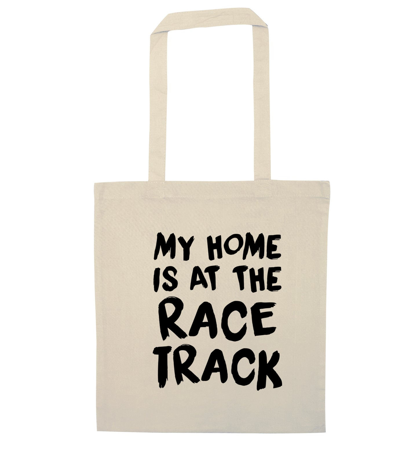 My home is at the race track natural tote bag