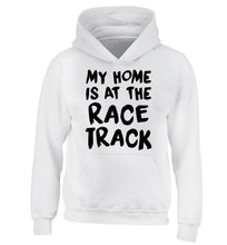 My home is at the race track children's white hoodie 12-14 Years