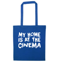My home is at the cinema blue tote bag