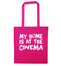 My home is at the cinema pink tote bag