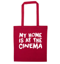 My home is at the cinema red tote bag