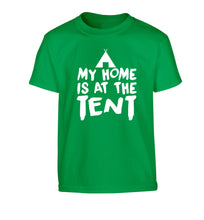 My home is at the tent Children's green Tshirt 12-14 Years