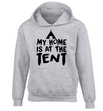 My home is at the tent children's grey hoodie 12-14 Years
