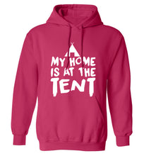 My home is at the tent adults unisex pink hoodie 2XL
