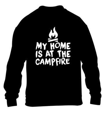My home is at the campfire children's black sweater 12-14 Years