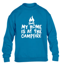 My home is at the campfire children's blue sweater 12-14 Years
