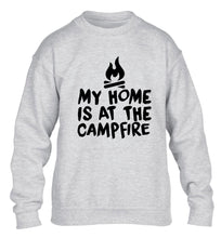 My home is at the campfire children's grey sweater 12-14 Years