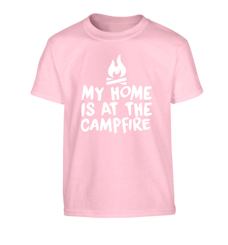 My home is at the campfire Children's light pink Tshirt 12-14 Years
