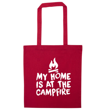 My home is at the campfire red tote bag