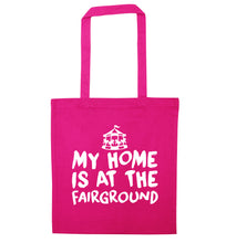 My home is at the fairground pink tote bag
