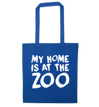 My home is at the zoo blue tote bag