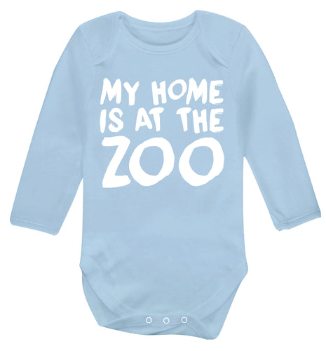 My home is at the zoo Baby Vest long sleeved pale blue 6-12 months