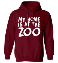 My home is at the zoo adults unisex maroon hoodie 2XL