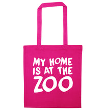My home is at the zoo pink tote bag