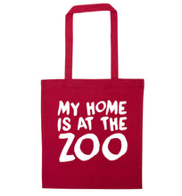 My home is at the zoo red tote bag