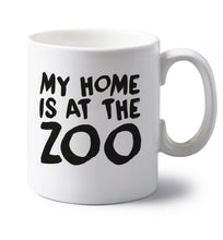 My home is at the zoo left handed white ceramic mug