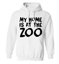 My home is at the zoo adults unisex white hoodie 2XL