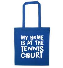 My home is at the tennis court blue tote bag