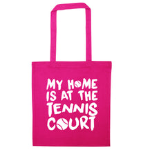 My home is at the tennis court pink tote bag