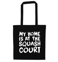My home is at the squash court black tote bag