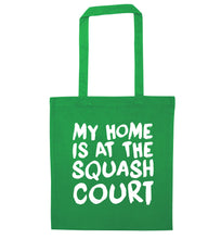My home is at the squash court green tote bag
