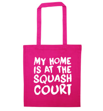 My home is at the squash court pink tote bag