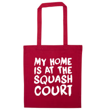 My home is at the squash court red tote bag