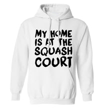 My home is at the squash court adults unisex white hoodie 2XL