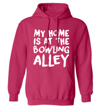 My home is at the bowling alley adults unisex pink hoodie 2XL