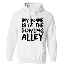 My home is at the bowling alley adults unisex white hoodie 2XL