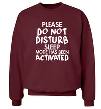 Please do not disturb sleeping mode has been activated Adult's unisex maroon Sweater 2XL