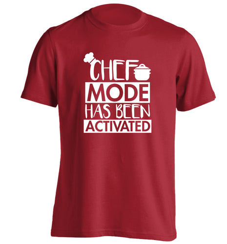 Chef mode has been activated adults unisex red Tshirt 2XL
