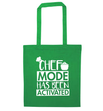 Chef mode has been activated green tote bag