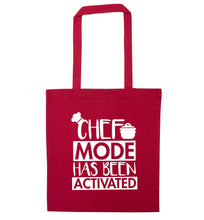 Chef mode has been activated red tote bag