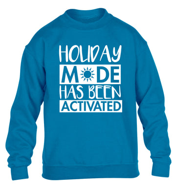 Holiday mode has been activated children's blue sweater 12-14 Years