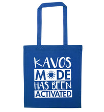 Kavos mode has been activated blue tote bag