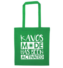 Kavos mode has been activated green tote bag