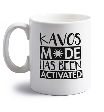 Kavos mode has been activated right handed white ceramic mug