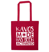 Kavos mode has been activated red tote bag