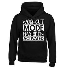 Workout mode has been activated children's black hoodie 12-14 Years