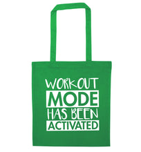 Workout mode has been activated green tote bag